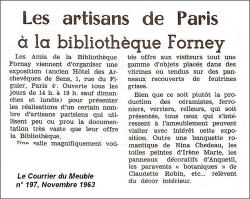 Exposition artisans de paris 25 octobre au 14 dcembre 1963 for Les artisans du meuble